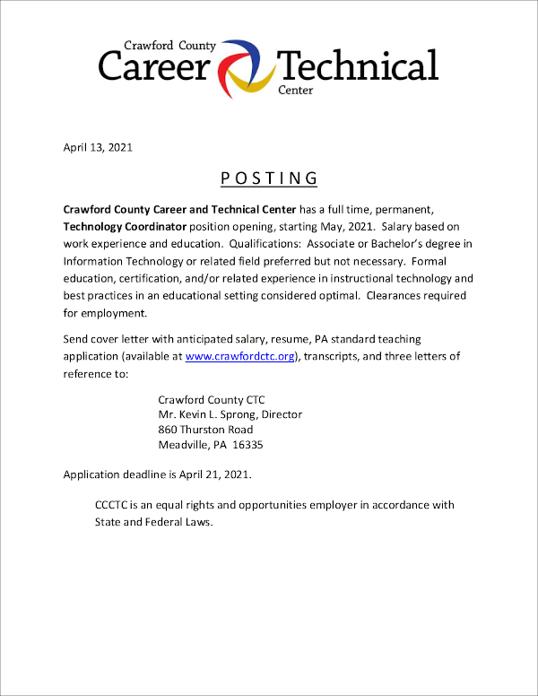 Job Opportunity at Crawford County Career and Technical Center